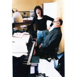 With Michael Nyman and enormous hair